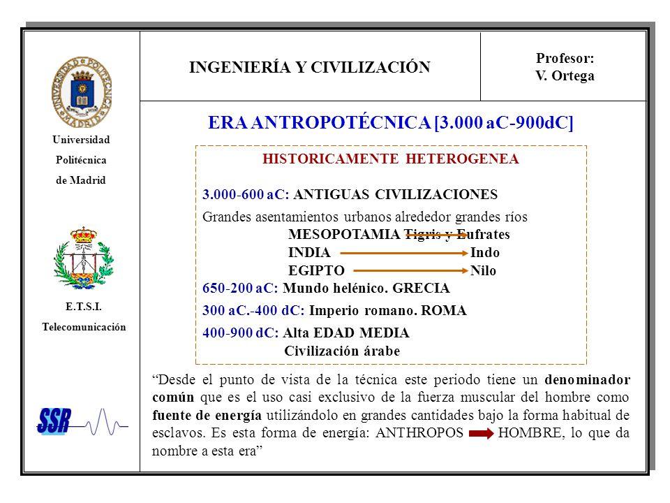 ERA ANTROPOTÉCNICA [3.000 aC-900dC] HISTORICAMENTE HETEROGENEA